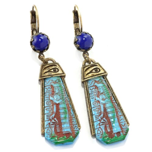 - 1930s Turquoise Blue Goddess Ancient Egyptian Vintage Czech Glass Pharaoh Earrings