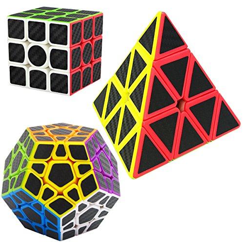 Speed Cubes Pyraminx Megaminx 3x3x3 LSMY 3 Pack Puzzle Magic Cube Carbon Fiber Sticker Toy