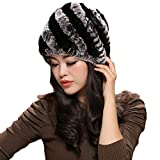 MINGXINTECH real rabbit fur winter hat for ladies womens cossak russian style cap