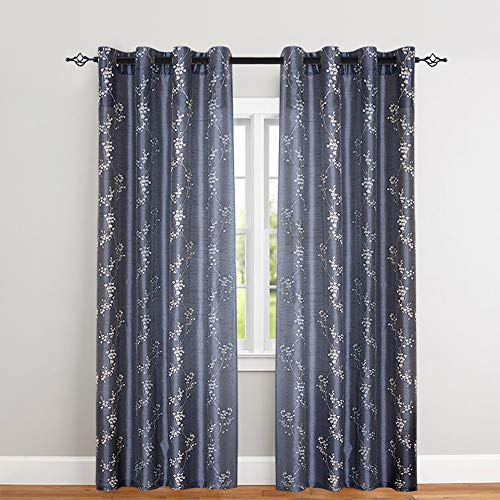 Floral Embroidered Curtains Bedroom Drapes Semi Sheer Curtains Living Room Faux Silk Embroidery Curtain Panels 95 inches Long Grommet Top 2 Pieces, Slate Blue (Semi Sheer Drapes)