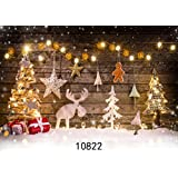 WOLADA 7x5ft Christmas Backdrop Thin Vinyl Wooden Photography Prop Newborn Photo Background 10822