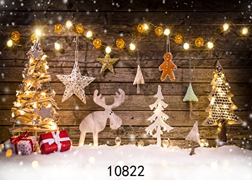 WOLADA 7x5ft Christmas Backdrop Thin Vinyl Wooden Photography Prop Newborn Photo Background ()