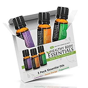 HBE Aromatherapy Essential oils (Lavender, Orange, Peppermint) 100% Therapeutic Grade
