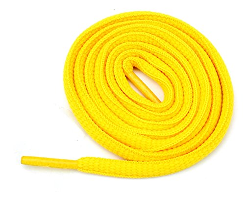 """Oval Athletic Shoelaces 1/4"""" Thick Solid Colors for All Shoes Several Lengths (Gold-27)"""