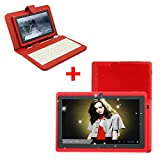 [New Release]iCrown(TM) 7″ Inch Capacitive Allwinner A13 Camera 1GHz Android 4 Tablet PC WiFi with Keyboard (Red+Keyboard), Best Gadgets