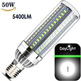 50W LED Corn Row Light Bulbs - 5400 Lumen - E26 Base – 350 Watt Equivalent - Super Bright Daylight- 6500k Cool White - Acctrend High Output - for Indoor and Outdoor - Backyard Garage Warehouse Barn