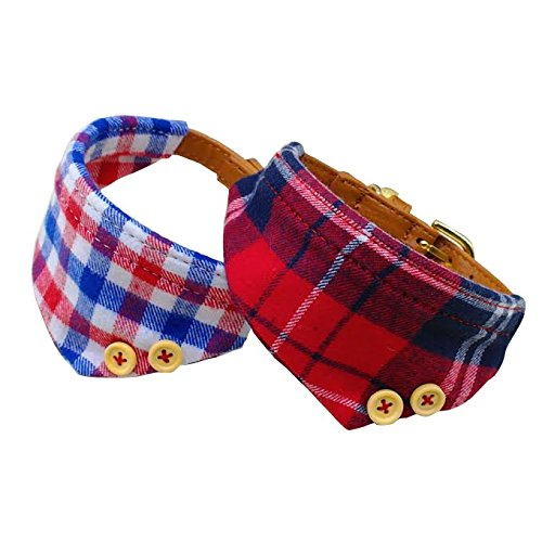 Petula Dog Collar Bandana Set - Cute Over The Collar Red And Blue Plaid Bandanas For Small Dogs And Cats