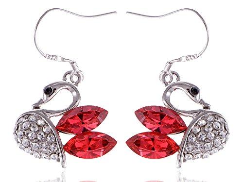 [Alilang Womens Swarovski Crystal Element Silver Tone Dark Pink Swan Bird Fish Hook Dangle Earrings] (Pink Fish Costumes For Sale)