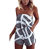 ECOWISH Women Off Shoulder Romper Strapless Floral Print Striped Beach Shorts Jumpsuit Small Grey