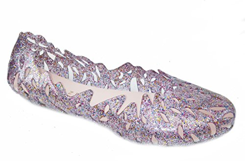 Smalto Per Le Donne Stilista Linee A Strati Jelly Ballet Flats (9 B (m) Us, Alaska-purple)