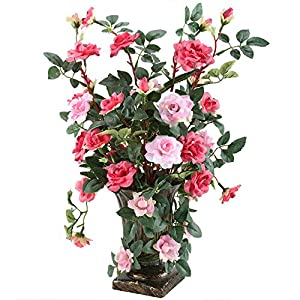 GTIDEA European Royal Style Design Artificial Potted Flowers Realistic Silk Rose Arrangements for House Office Restaurant Table Centerpieces Windowsill Decor 89