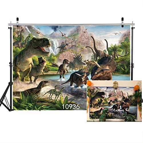 Dinosaur Scene Setter (SJOLOON 7X5ft Dinosaur Vinyl Photography Backgrounds 3D Backdrops for Children Kids Adult Portrait Photo Studio Props)