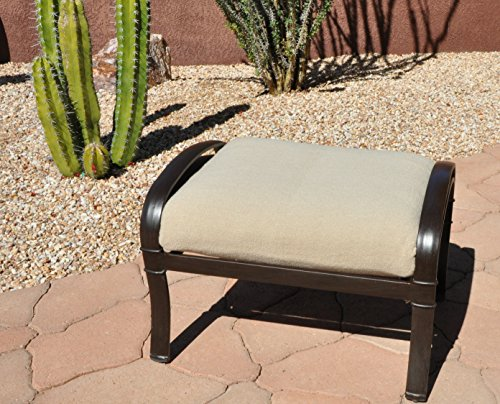 CushyChic Outdoors Terry Slipcover for Ottoman Cushion in Sand - Slipcover Only - Cushion Insert NOT Included