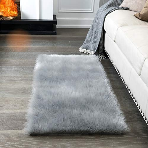 Super Soft Fluffy Rug Faux Fur Area Rug, Fur Rugs for Bedroom, Fuzzy Carpet for Living Room, 2x4 Feet, AILISI (Light Grey) (Soft Bedroom Rugs)