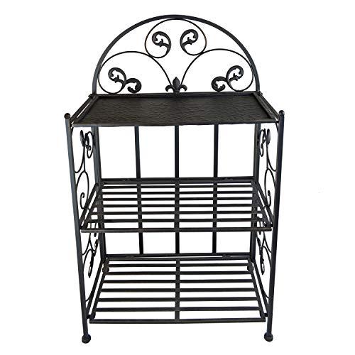PierSurplus Decorative 32 in Metal Shelf With Wrought Iron Motif, Folding Shelf, V2 Product SKU: HD229388B (Wrought Shelves Black Iron)