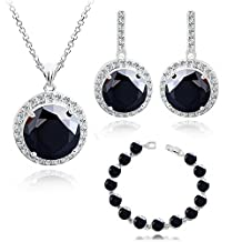"""Round Black Zirconia Austrian Crystals Set Pendant Necklace 18"""" Earrings Bracelet 18 ct White Gold Plated for Women"""
