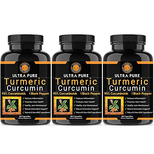 Angry Supplements Ultra Pure Turmeric Curcumin with BioPerine, Black Pepper Extract, 95% Curcuminoids, All Natural Powerful Antioxidant, Non-GMO, Joint Support, Heart Heath, Pain Relief (3-Pack)