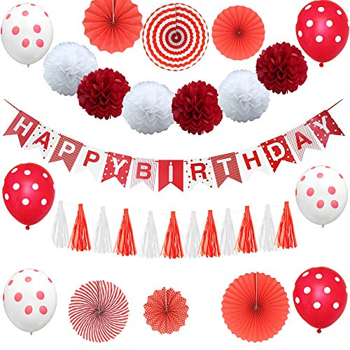 YUMMAYEE Red Happy Birthday Banner Red and White Birthday Party Decorations Paper Fans Balloons Paper Garland Tassels for Girl or Boy Party -