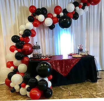 Amazon.com: Globos de color rojo, negro y blanco, kit de ...