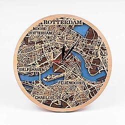 Rotterdam 12 Inch Wooden Clock Netherlands Wooden Decor City Art Rotterdam Wooden Wall Clock Birthday Gift for Man Wooden Wall Clock with Rotterdam Map Design 3D Wooden Map Clock Xmas Gift for Woman