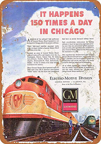 WallDector Emd General Motors Locomotives Iron Poster Painting Tin Sign Vintage Wall Decor for Cafe Bar Pub Home Beer Decoration - Locomotives Motors General