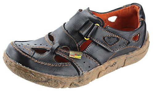 TMA Leder Damenschuhe Sommer Halbschuhe Sandalen 7008 Schwarz