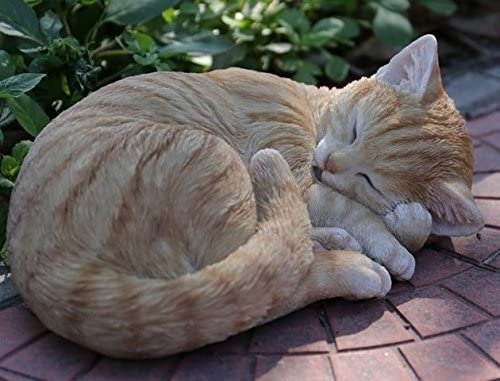 Hi-Line Gift 87728-B Cat Sleeping Lying Down Tabby Statue44 Orange