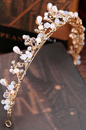 KENHOI Beauty handmade pearl bride crown princess crown