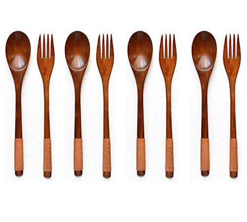 Antrader Wooden Spoons Forks Set Kitchen Tableware Dinnerware Flatware Eco friendly Natural Wood Cutlery Wooden Dinner Utensil Set, 4 Spoons and 4 Forks ()