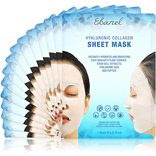 Ebanel 15 Pack Collagen Face Mask Instant Brightening  Hydrating Face Sheet Mask with Aloe Vera