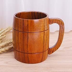 hergon de taza de café con la mano de té de la mano de madera taza de cerveza de madera herramienta del agua potable