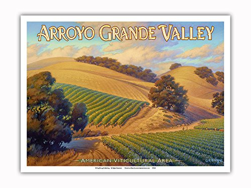 Pacifica Island Art - Arroyo Grande Valley Wineries - Central Coast AVA Vineyards - California Wine Country Art by Kerne Erickson - Master Art Print - 9in x 12in