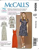 McCalls Learn to Sew for Fun Pattern M0540 Misses Close Fitting Pullover Dresses Size XS-M 4-14