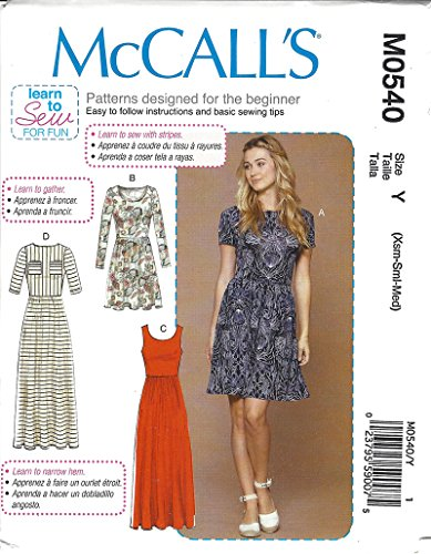 McCalls Learn to Sew for Fun Pattern M0540 Misses Close Fitting Pullover Dresses Size XS-M 4-14 by McCall's