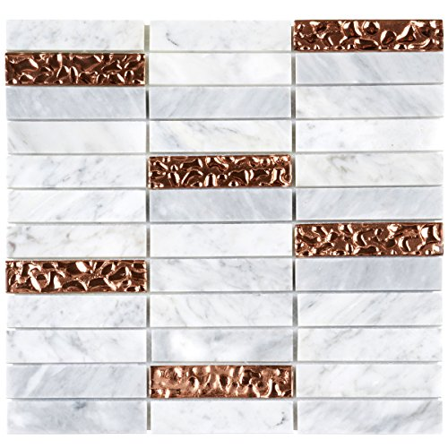 Modket TDH142MO White Carrara Marble Stone Mosaic Tile, Rose Gold Glass Inserted Blend Stacked Pattern Backsplash - Gold Marble Bathroom Sink