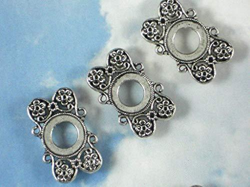 Pendant Jewelry Making 10 Flower Sliders 12mm Bezel Settings 2 Strand Antique Silver Tone