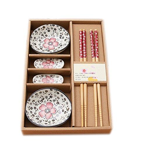 6piezas juego de mesa Ware–Cubertería (Pequeño regalo estilo chino plato de bambú yookoon palillos palillos de madera para el hogar regalos, Rojo