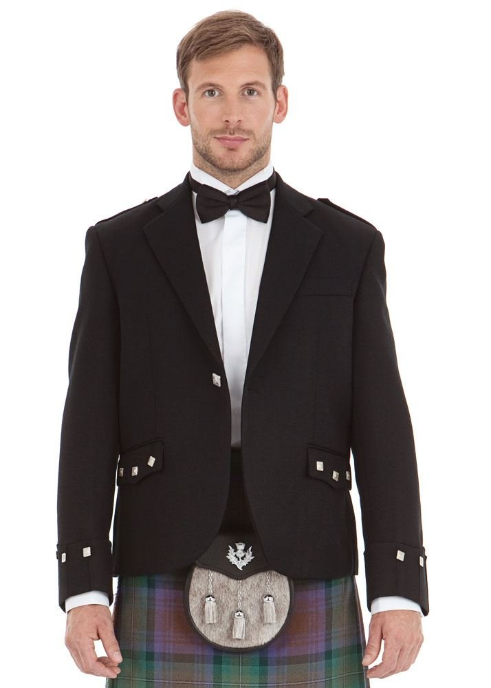 Mens Scottish Black Argyll Kilt Jacket 40 Short by Kilt Society