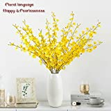 NEWQZ A Set of 8 Pieces Artificial Orchid Flowers Bouquet with Special White Ceramic Vase, Fake Flower for Wedding Home Office Party Hotel Restaurant Patio or Yard Decoration