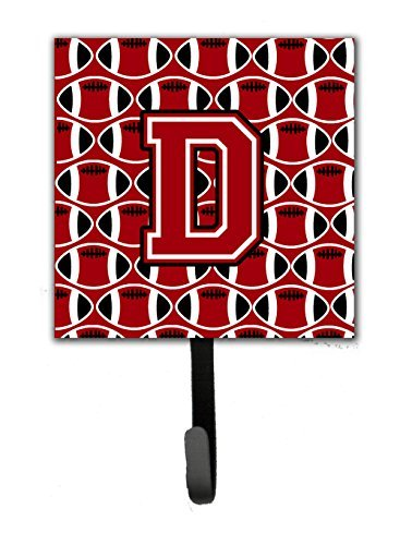 Carolines Treasures Letter D Football Red Black and White Leash or Key Holder CJ1073-DSH4 Small Multicolor