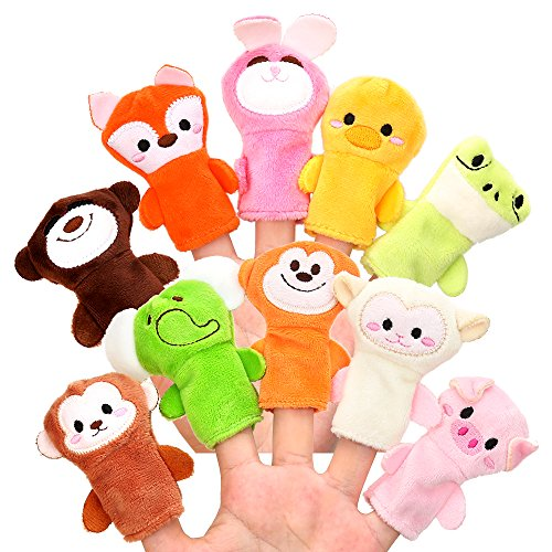 Biging 10 Pieces Finger Puppets Soft Cloth Animal Doll Hand Toys Plush Toys for Baby - Animal Puppet Doll