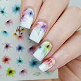 nail art seal - 1 sheet Fading Flower Water Decals Ink Painting Nail Transfer Decals Water Color Nail Art Water Seal Water Slide