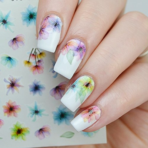 1 Sheet Fading Flower Water Decals Ink Painting Nail Transfer Decals