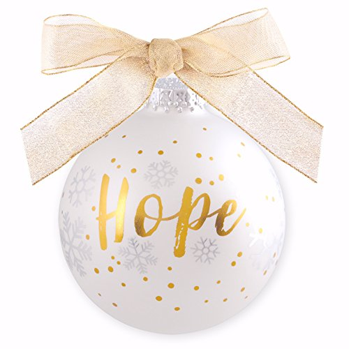 Gold Lighthouse White - Lighthouse Christian Products White & Gold Glass Hope Christmas Ornament