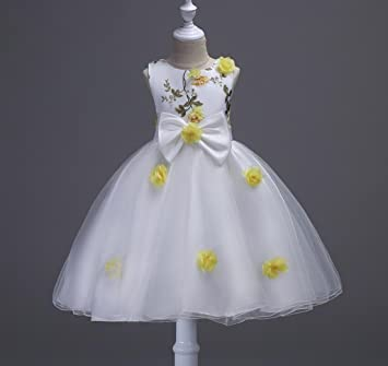 Girls Princess White Dress Wedding Pageant Prom Party Dresses 3-12 Years , yellow ,