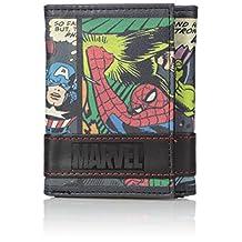 Marvel Men's Multi-Character Comic Stripe Trifold Wallet