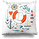 Throw Pillow Covers Life Nautical Circle Shape There are Lighthouse Lifeline Seagull Sailboat Buoy Fish Anchor Ocean Couch Square 18 x 18 Inches Cushion Cases Pillowcases