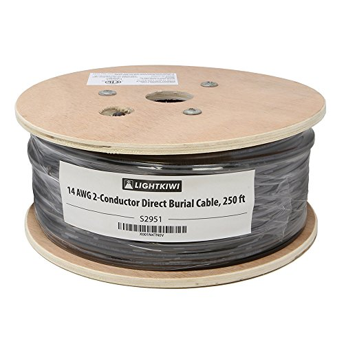Lightkiwi S2951 14AWG 2-Conductor 14/2 Direct Burial Wire for Low Voltage Landscape Lighting, 250ft (Wire Low Voltage Landscape Lighting)