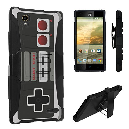 Elite Phone Covers - DuroCase ZTE Warp Elite N9518 Boost Mobile (Released in 2015) Hybrid Dual Layer Combat Armor Style Kickstand Case w/ Belt Clip Holster Combo - (Game Controller)