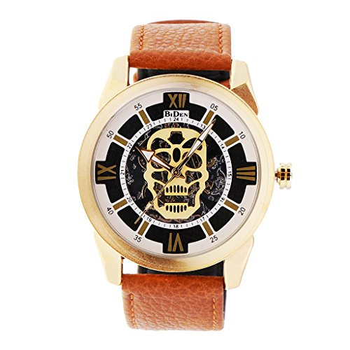 Price comparison product image Homyl BIDEN 1 Piece Skeleton Skull Quartz Men Watch Luxury Waterproof Imitation Leather Men Sport Watch - Brown